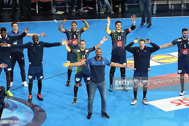 Head coach Didier Dinart of France celebrate the victory by a claping with teammattes during the 25th IHF Men's World Championship 2017 Semi Final...