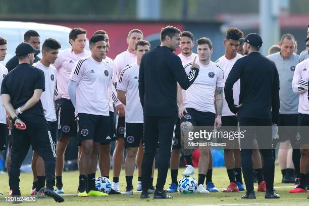 Head coach Diego Alonso of Inter Miami CF speaks to the team prior to the Inter Miami CF training session at Barry University on January 23 2020 in...