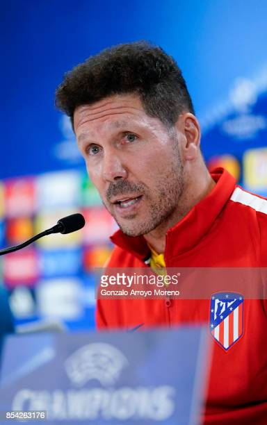 Head coach Diego Pablo Simeone of Atletico de Madrid answers questions from the media during a press conference ahead of the UEFA Champions League...