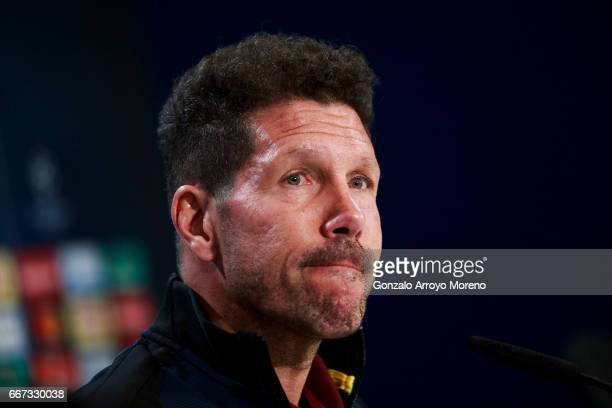 Head coach Diego Pablo Simeone of Atletico de Madrid attends a press conference ahead of the UEFA Champions League Quarter Final First leg match...