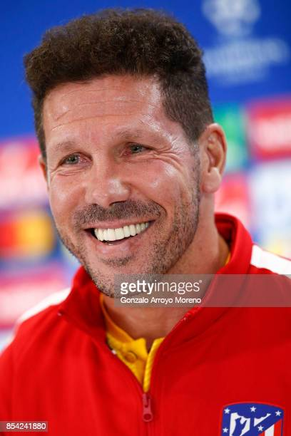 Head coach Diego Pablo Simeone of Atletico de Madrid attends questions from the media during a press conference ahead of the UEFA Champions League...