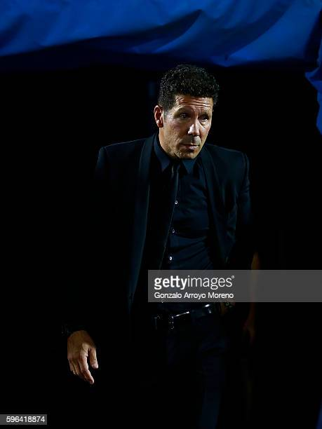 Head coach Diego Pablo Simeone of Atletico de Madrid enters to the pitch prior to start the La Liga match between Club Deportivo Leganes and Club...
