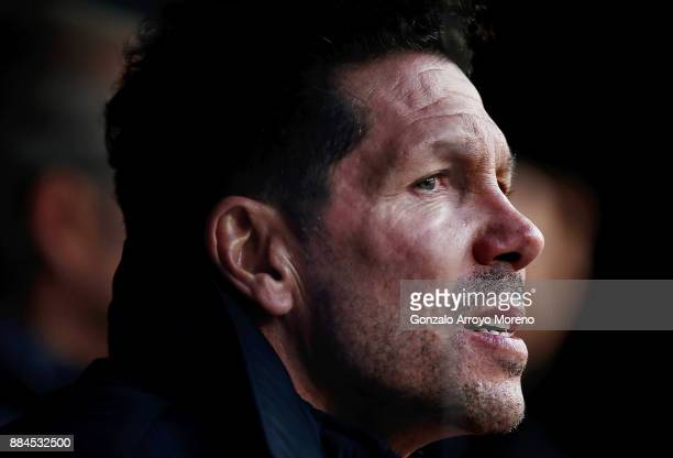 Head coach Diego Pablo Simeone of Atletico de Madrid gestures from the bench prior to start the La Liga match between Club Atletico Madrid and Real...