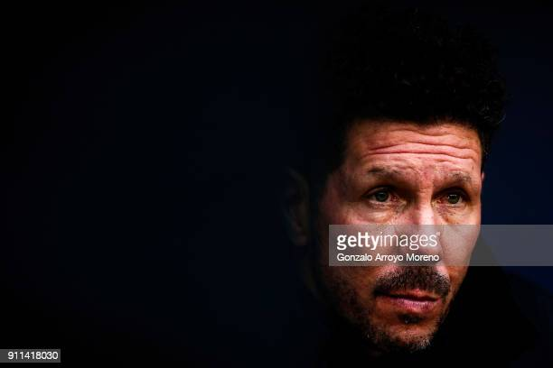 Head coach Diego Pablo Simeone of Atletico de Madrid looks on from the bench prior to start the La Liga match between Club Atletico Madrid and UD Las...