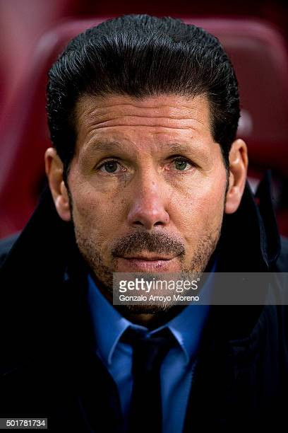 Head coach Diego Pablo Simeone of Atletico de Madrid looks on sitted on the bench prior to start the Copa del Rey Round of 32 match between Club...