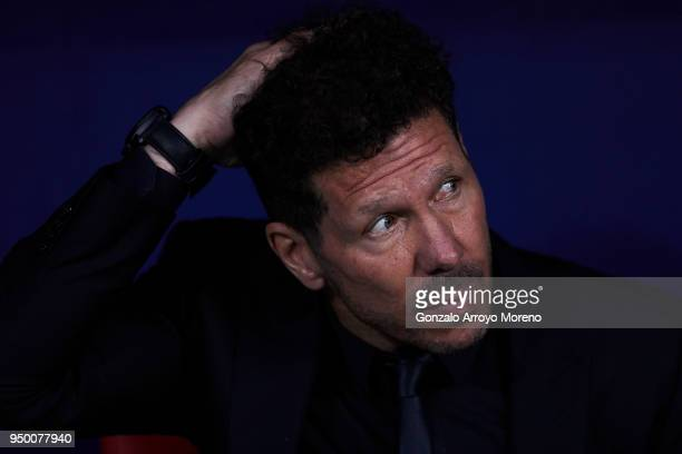 Head coach Diego Pablo Simeone of Atletico de Madrid reacts from the bench prior to start the La Liga match between Club Atletico Madrid and Real...