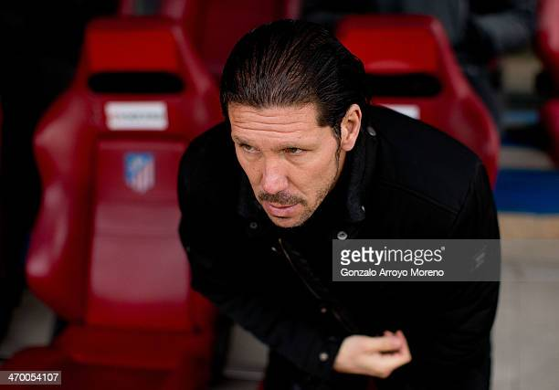 Head coach Diego Pablo Simeone of Atletico de Madrid sits on the bench prior to start the La Liga match between Club Atletico de Madrid and Real...