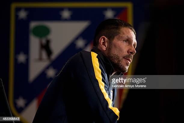 Head coach Diego Pablo Simeone of Atletico de Madrid speaks to the media during a press conference the day before the UEFA Champions League...
