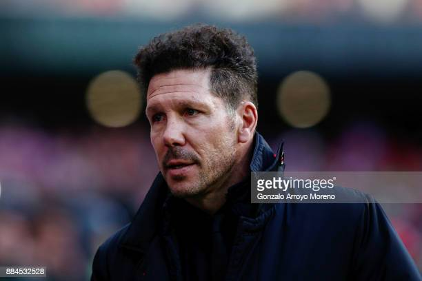 Head coach Diego Pablo Simeone of Atletico de Madrid walks to the bench prior to start the La Liga match between Club Atletico Madrid and Real...