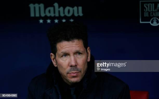 Head coach Diego Pablo Simeone of Atletico Madrid looks on prior to the La Liga match between Atletico Madrid and Getafe at Estadio Wanda...