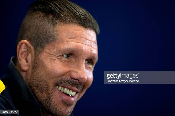 Head coach Diego Pablo Simeone of Club Atletico de Madrid answers questions from the media during a press conference the day before the UEFA...