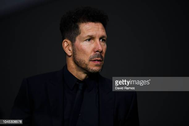 Head coach Diego Pablo Simeone of Club Atletico de Madrid looks on prior to the Group A match of the UEFA Champions League between Club Atletico de...