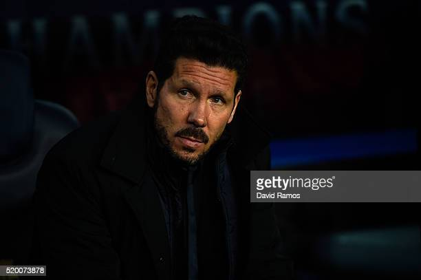 Head coach Diego Pablo Simeone of Club Atletico de Madrid looks on during the UEFA Champions League quarter final first leg match between FC...