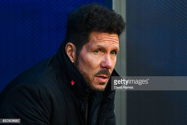 Head coach Diego Pablo Simeone of Club Atletico de Madrid looks on prior to the kickoff during the La Liga match between Deportivo Alaves and Club...
