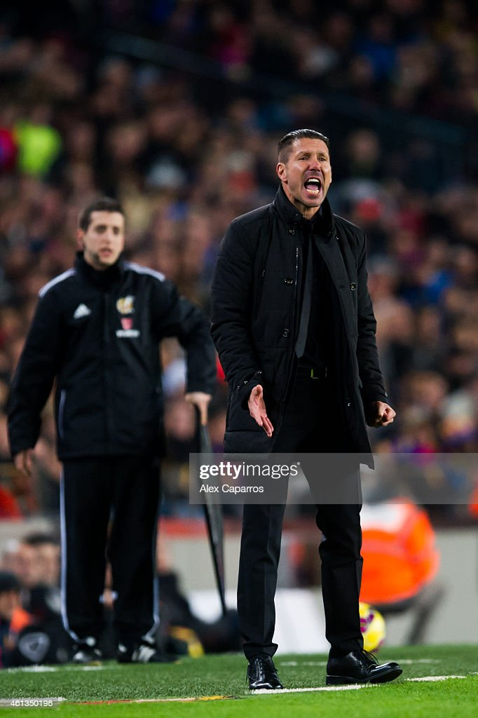 Head coach Diego Pablo Simeone of Club Atletico de Madrid reacts during the La Liga match between FC Barcelona and Club Atletico de Madrid at Camp Nou on January 11, 2015 in Barcelona, Spain.