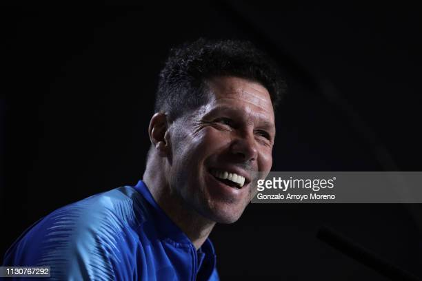 Head coach Diego Pablo Simeoneof Atletico de Madrid attends a press conference ahead of their UEFA Champions League Round of 16 first leg match...