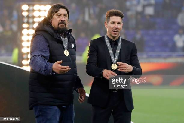 Head coach Diego Simeone of Atletico Madrid and Assistant coach German Burgos of Atletico Madrid after the UEFA Europa League Final between Olympique...