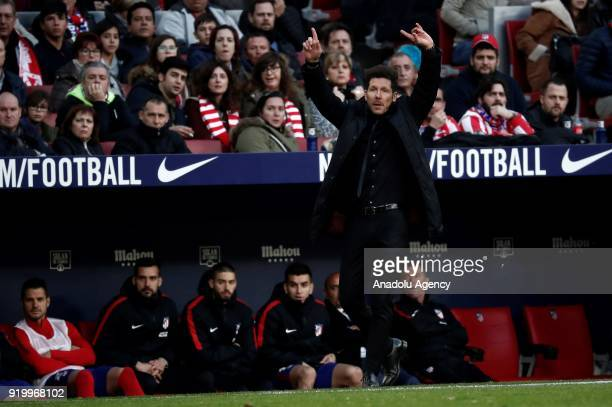 Head coach Diego Simeone of Atletico Madrid gestures during a La Liga week 24 match between Atletico Madrid and Athletic Club Bilbao at the Wanda...