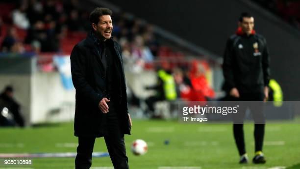 Head coach Diego Simeone of Atletico Madrid gestures during the Copa Del Rey match between Atletico de Madrid and Lleida Esportiu at Wanda...