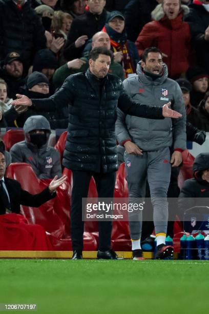 head coach Diego Simeone of Atletico Madrid gestures during the UEFA Champions League round of 16 second leg match between Liverpool FC and Atletico...