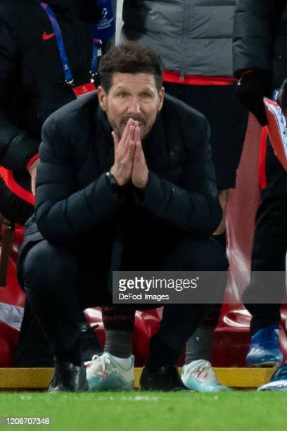 head coach Diego Simeone of Atletico Madrid looks on after the UEFA Champions League round of 16 second leg match between Liverpool FC and Atletico...