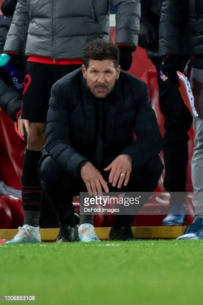 head coach Diego Simeone of Atletico Madrid looks on during the UEFA Champions League round of 16 second leg match between Liverpool FC and Atletico...