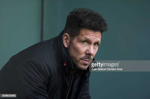 Head coach Diego Simeone of Atletico Madrid looks on prior to the start the La Liga match between Athletic Club Bilbao and Atletico Madrid at San...
