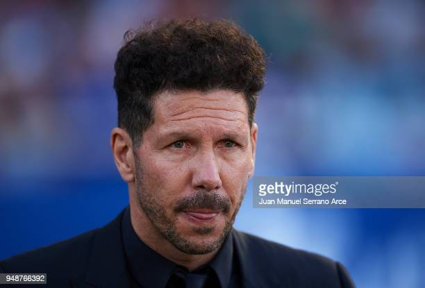 Head coach Diego Simeone of Atletico Madrid looks on prior to the start the La Liga match between Real Sociedad de Futbol and Atletico Madrid at...