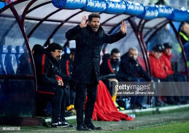 Head coach Diego Simeone of Atletico Madrid reacts during the La Liga match between SD Eibar and Atletico Madrid at Ipurua Municipal Stadium on...