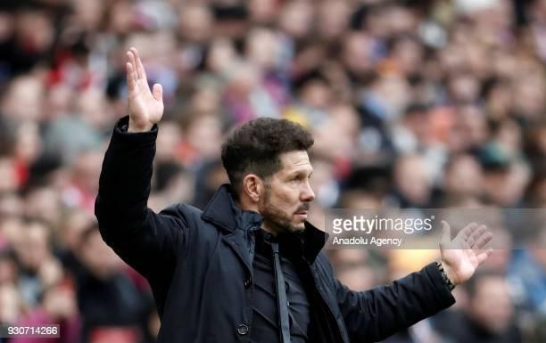Head coach Diego Simeone of Atletico Madrid reacts during the La Liga soccer match between Atletico Madrid and Celta Vigo at Wanda Metropolitano...