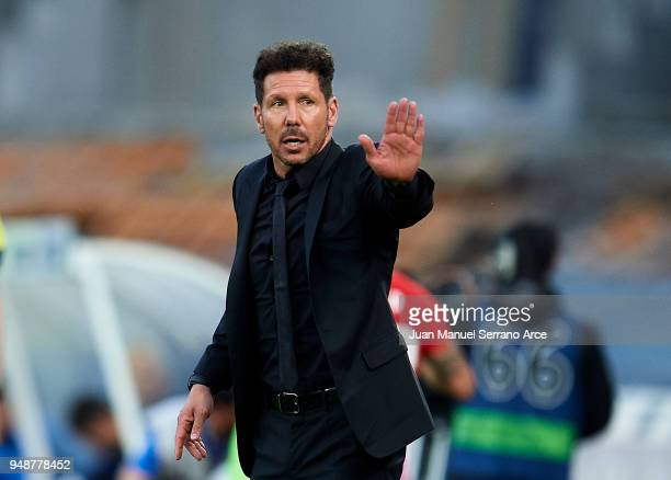 Head coach Diego Simeone of Atletico Madrid reacts during the La Liga match between Real Sociedad de Futbol and Atletico Madrid at Estadio Anoeta on...