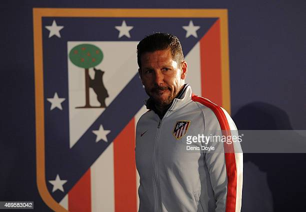 Head coach Diego Simeone of Club Atletico de Madrid arrives for his press conference ahead of the UEFA Champions League Quarter Final First Leg match...