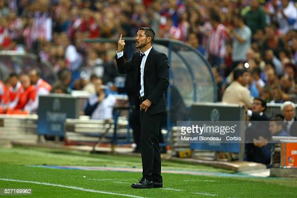 Head coach Diego Simeone of Club Atletico de Madrid during the UEFA Champions League Group A football match between Club Atletico de Madrid and...