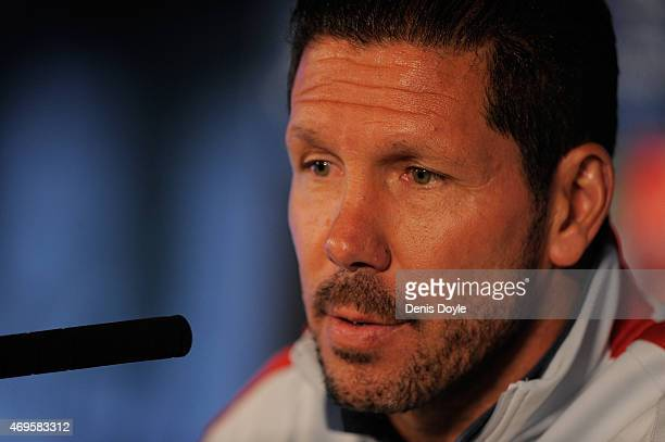 Head coach Diego Simeone of Club Atletico de Madrid holds his press conference ahead of the UEFA Champions League Quarter Final First Leg match at...
