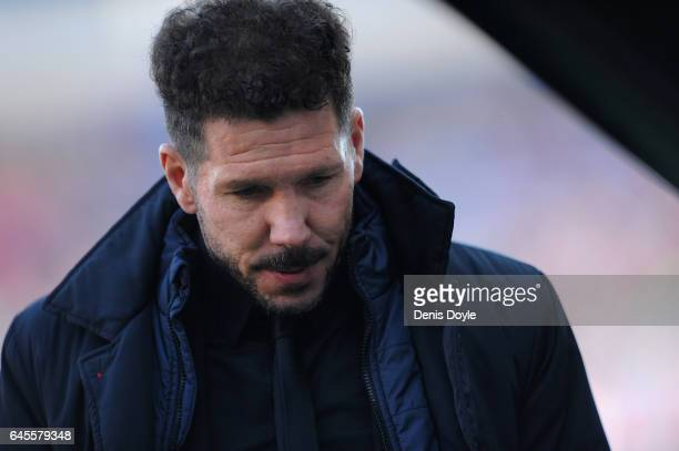 Head coach Diego Simeone of Club Atletico de Madrid looks on before the start of the La Liga match between Club Atletico de Madrid and FC Barcelona...