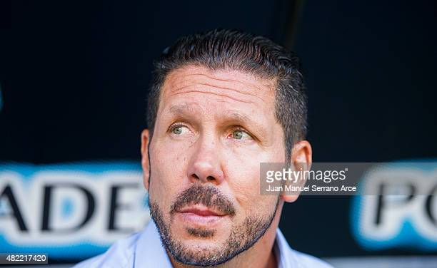 Head coach Diego Simeone of Club Atletico de Madrid looks on prior to the start a pre season friendly match between Real Oviedo and Club Atletico de...