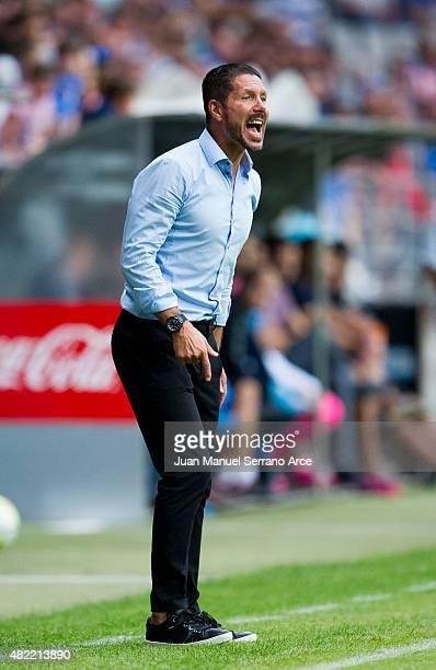 Head coach Diego Simeone of Club Atletico de Madrid Reacts during a pre season friendly match between Real Oviedo and Club Atletico de Madrid at...