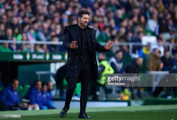 Head coach Diego Simeone of Club Atletico de Madrid reacts during the La Liga match between Real Betis Balompie and Club Atletico de Madrid at...