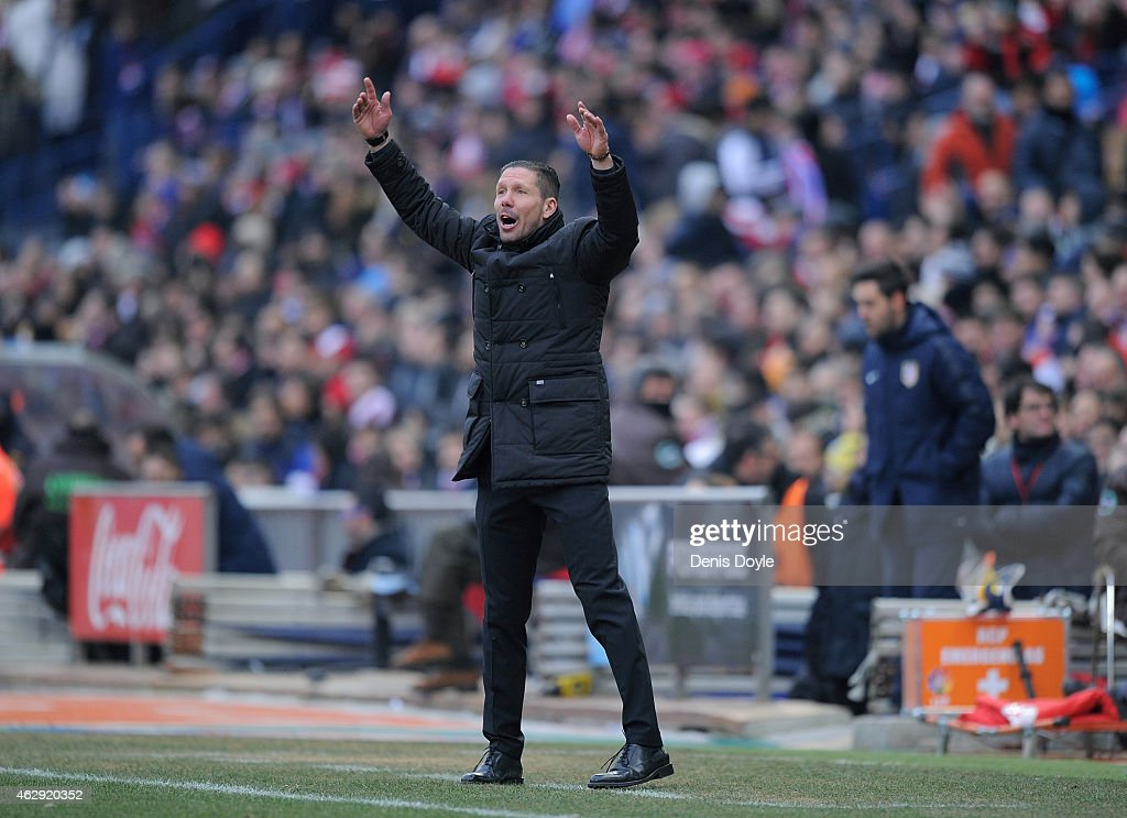 Head coach Diego Simeone of Club Atletico de Madrid reacts during the La Liga match between Club Atletico de Madrid and Real Madrid at Vicente Calderon Stadium on February 7, 2015 in Madrid, Spain.