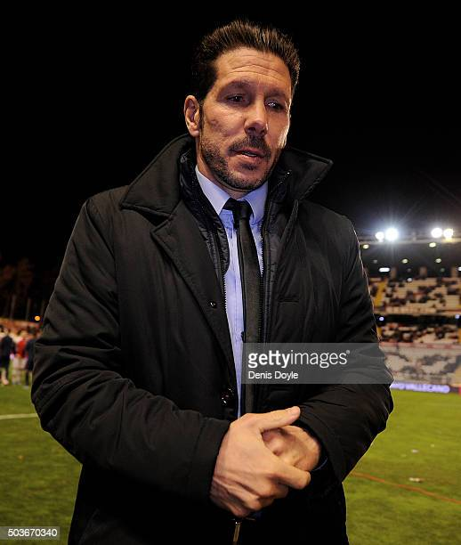 Head coach Diego Simeone of Club Atletico de Madrid walks to the players bench during the Copa del Rey Round of 16 First Leg match between Rayo...