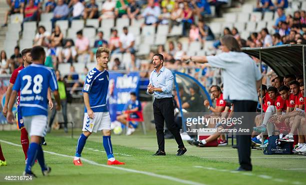 Head coach Diego Simeone ofÊClub Atletico de Madrid Reacts Êduring a pre season friendly match between Real Oviedo and Club Atletico de Madrid at...
