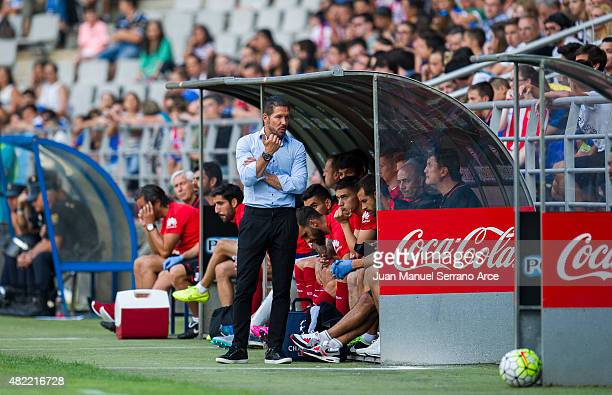 Head coach Diego Simeone ofÊClub Atletico de Madrid Reacts Êduring a pre season friendly match between Real Oviedo and Club Atletico de Madrid at...