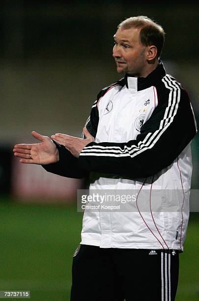 Head coach Dieter Eilts of Germany issues instructions during the Under 21 international friendly between Germany and Czech Republic at the PaulJanes...