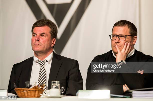 Head Coach Dieter Hecking and Director of Sport Max Eberl of Borussia Moenchengladbach during the Annual Meeting of Borussia Moenchengladbach at...