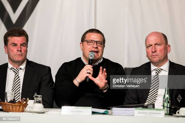Head Coach Dieter Hecking Director of Sport Max Eberl and Managing director Stephan A C Schippers of Borussia Moenchengladbach during the Annual...