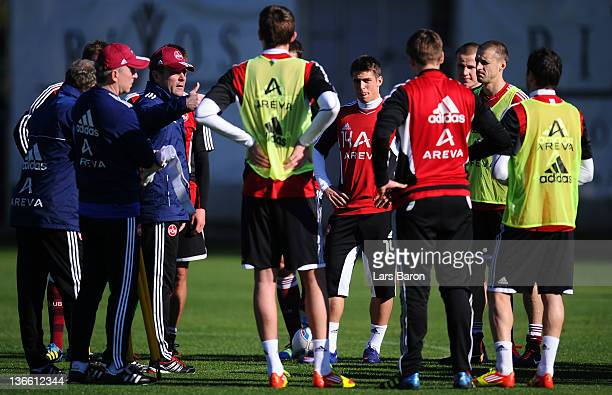 Head coach Dieter Hecking gives instructions during a training session at day five of 1. FC Nuernberg training camp on January 9, 2012 in Belek,...