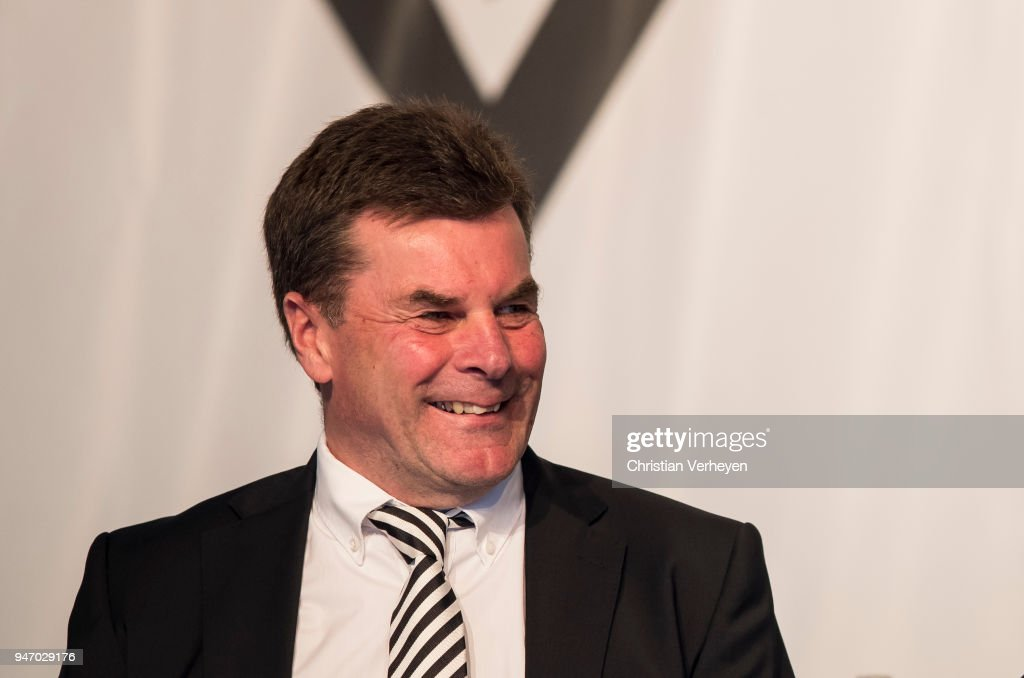 Head Coach Dieter Hecking of Borussia Moenchengladbach during the Annual Meeting of Borussia Moenchengladbach at Borussia-Park on April 16, 2018 in Moenchengladbach, Germany.
