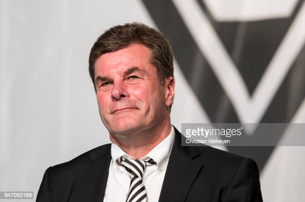 Head Coach Dieter Hecking of Borussia Moenchengladbach during the Annual Meeting of Borussia Moenchengladbach at BorussiaPark on April 16 2018 in...