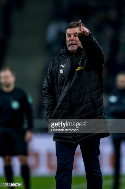 Head Coach Dieter Hecking of Borussia Moenchengladbach in action during the Bundesliga match between Borussia Moenchengladbach and 1FC Nuernberg at...