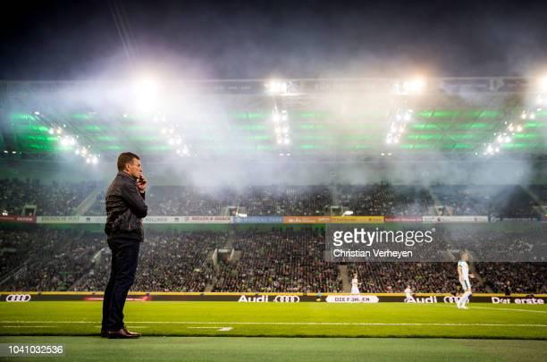 Head Coach Dieter Hecking of Borussia Moenchengladbach is seen during the Bundesliga match between Borussia Moenchengladbach and Eintracht Frankfurt...